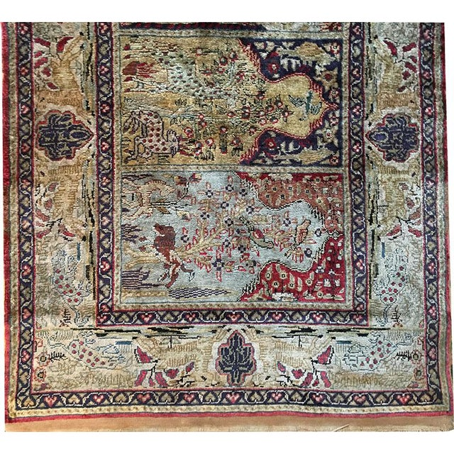 Traditional Early 20th Century Antique Silk Turkish Saph Runner Rug - 2′7″ × 8′ For Sale - Image 3 of 9