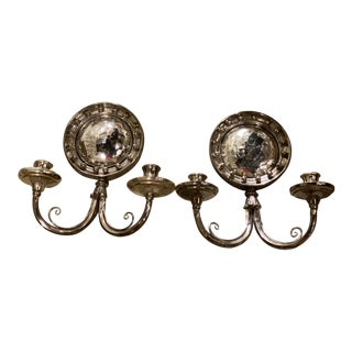 1920s Silver Plated Sconces With Convex Mirrored - a Pair For Sale