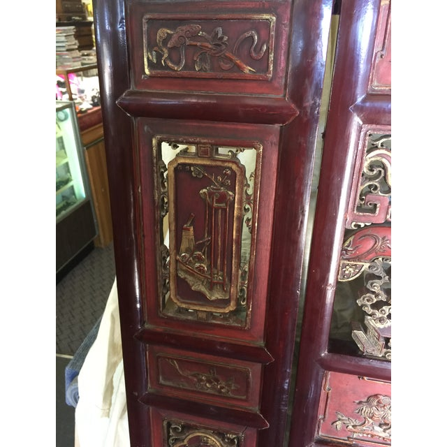 Carved Antique Asian Screen Room Divider For Sale In San Francisco - Image 6 of 11