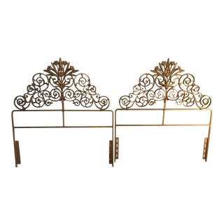 Hollywood Regency Twin Metal Headboards Circa 1950 - A Pair For Sale