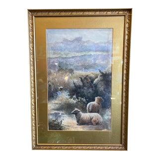 Antique Sheep on the Moor Watercolor, Ca Hubert For Sale