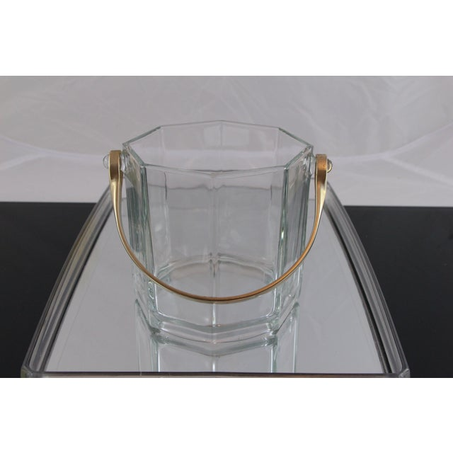 Octagon Glass & White Gold Metal Finish Icebucket - Image 2 of 5