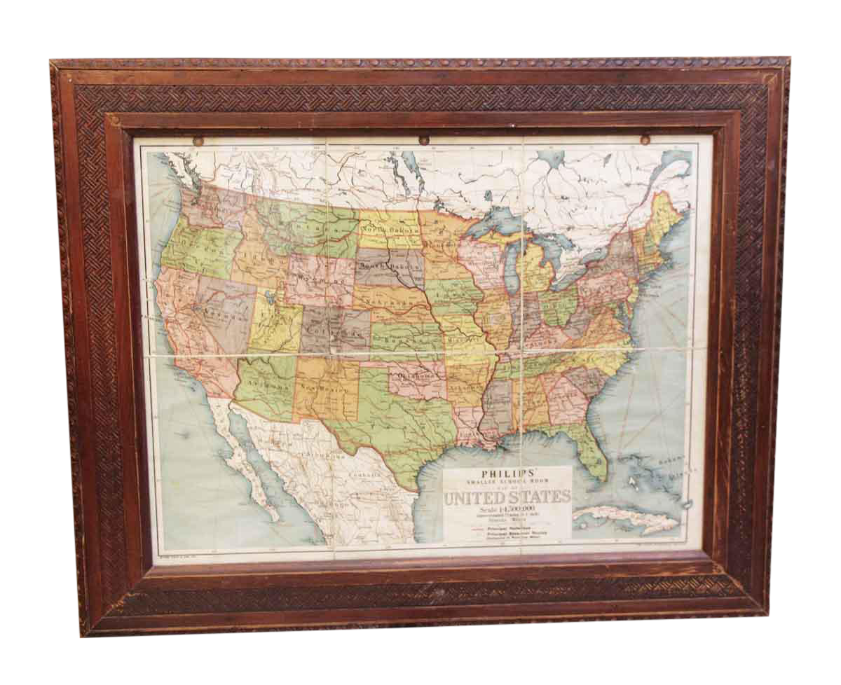 Framed Vintage Map Of The United States Chairish