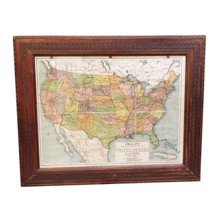 Framed Vintage Map of the United States For Sale