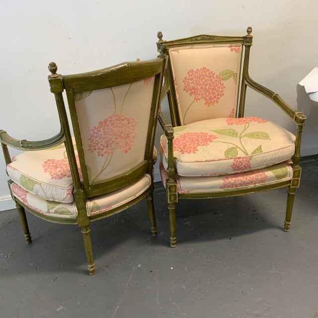 Italian Upholstered Arm Chairs- A Pair For Sale - Image 9 of 10