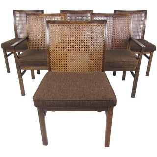 Lane Mid-Century Cane Back Dining Chairs - Set of 6 For Sale