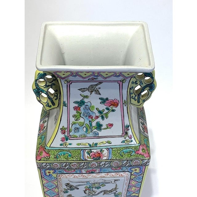 Mid 20th Century Mid 20th Century Large Chinese Famille Rose Square-Form Vase With Birds and Ducks For Sale - Image 5 of 10