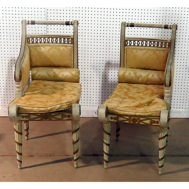 Regency Style Distressed Painted Recamiers - a Pair For Sale - Image 10 of 10