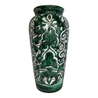 Mexican Original Hand-Painted Tall Pottery Vase For Sale