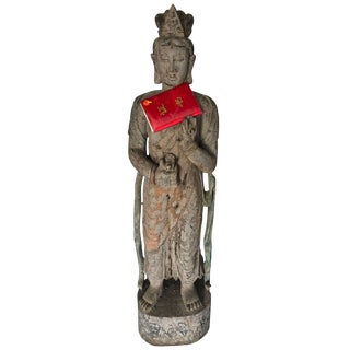 Chinese Guan Yin Wooden Statue For Sale