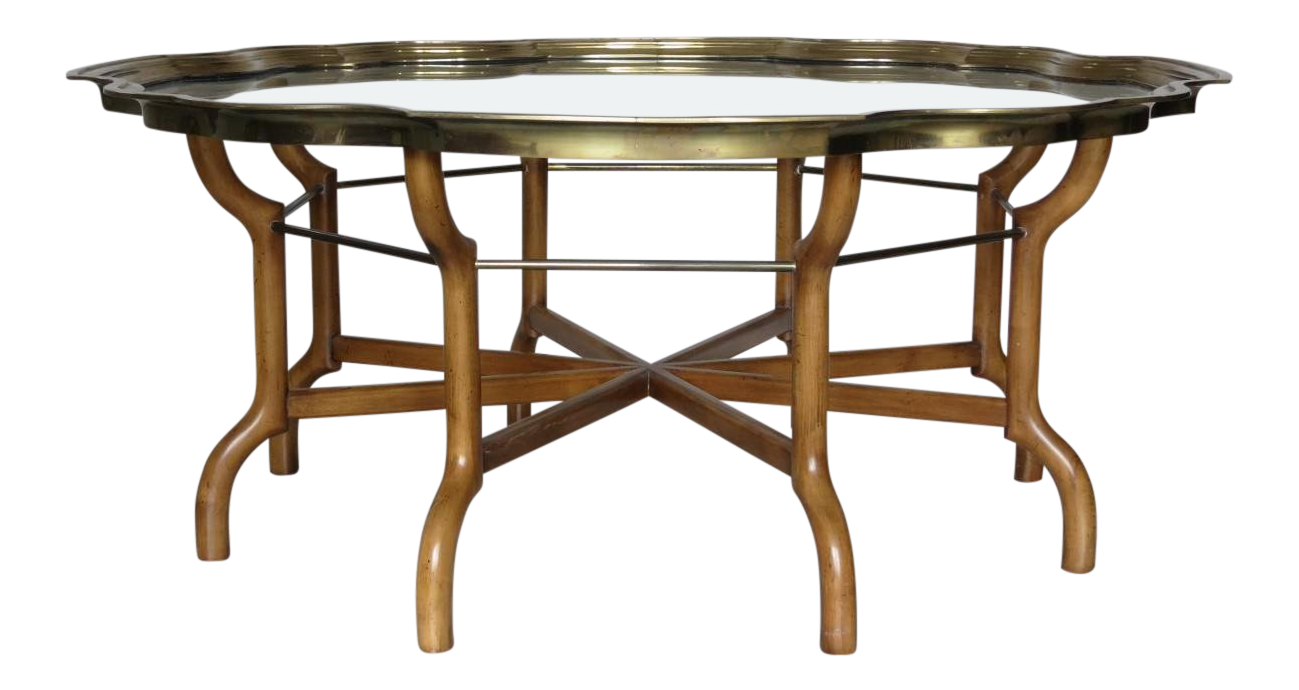 Vintage Baker Scalloped Brass And Glass Tray Top Coffee Cocktail Table |  Chairish