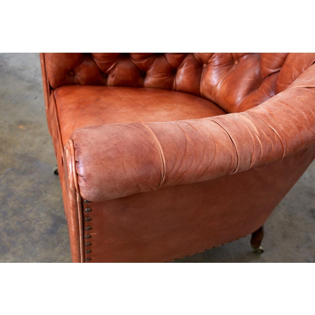 Late 19th Century Pair of English Tufted Leather Chesterfield Club Chairs For Sale - Image 5 of 13