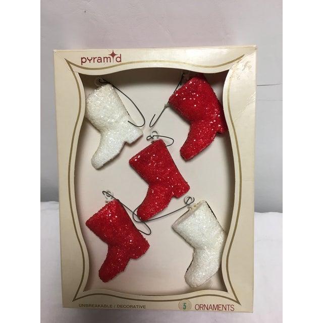 Vintage Glitter Santa Boots Christmas Ornaments - Set of 5 - Image 5 of 6