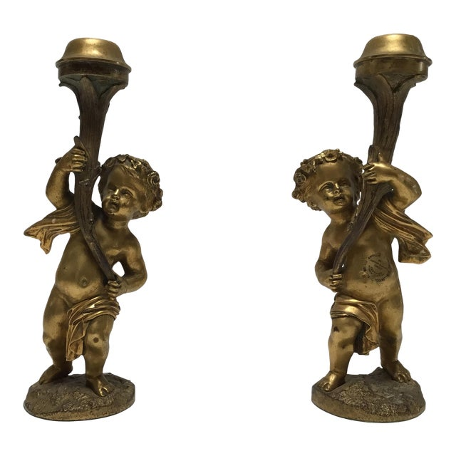Antique French Cherub Bronze Dore Candlesticks - a Pair For Sale