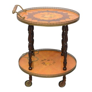Italian Marquetry Bar Cart or Tea Trolley by Sorrento, 1960s For Sale