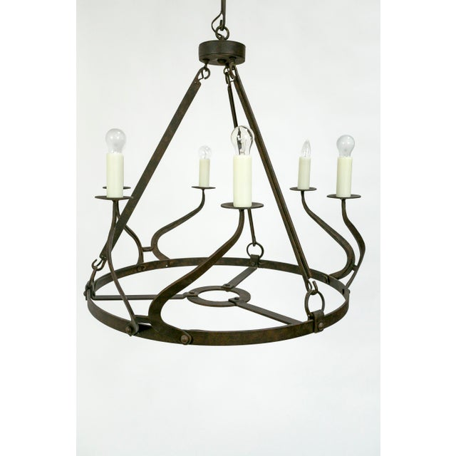 Rustic Iron Wavy Armed Chandelier For Sale - Image 4 of 11