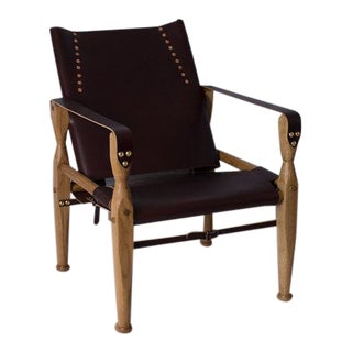Contemporary Bespoke Oxblood Leather Safari Lounge Chair by Third Life Designs For Sale