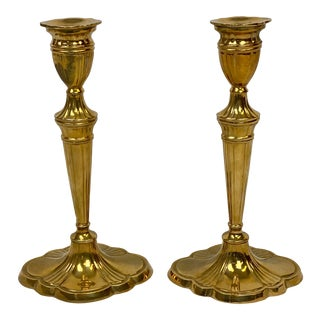 Vintage Mottahedeh Cast Brass Candle Stick Holders - a Pair For Sale