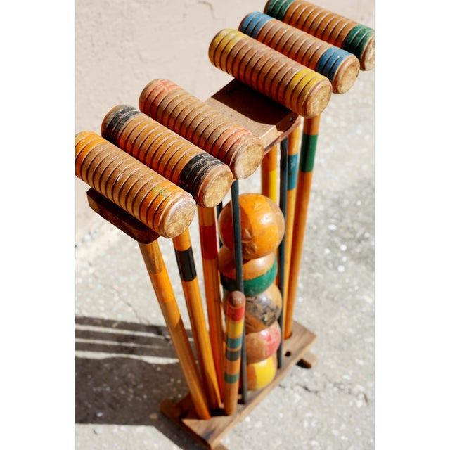 Brown Vintage Wooden Croquet Set With Rack For Sale - Image 8 of 8