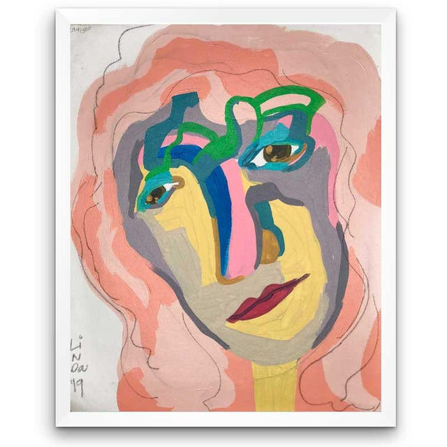 This abstract portrait is by contemporary artist Linda Ward of Detroit. This portrait is #294 out of a series of 500...