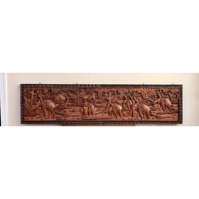 Asian Large Vintage Wall Sculpture 3d Hand Carved Relief Teak Panel For Sale - Image 3 of 13