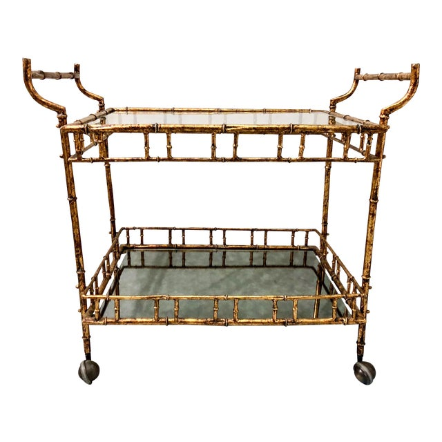 Hollywood Regency Italian Gilt Metal Bar Cart - Image 1 of 3
