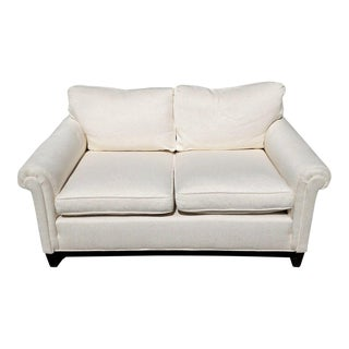 Nice Contemporary White Upholstered Settee Love Seat Couch Sofa Two Seat