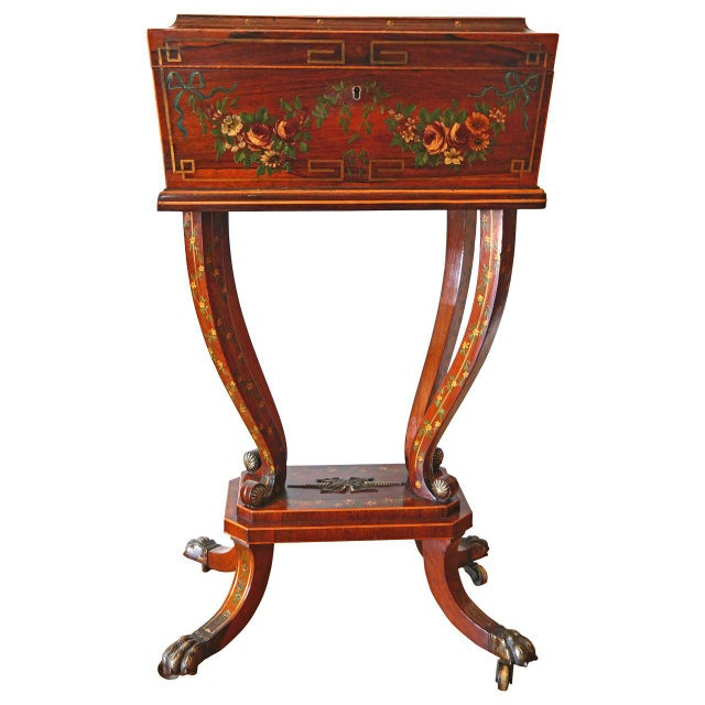 Gold 19th Century Regency Rosewood Workbox For Sale - Image 8 of 8