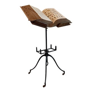 1920s Arts and Crafts Book Stand With Dictionary - a Pair For Sale