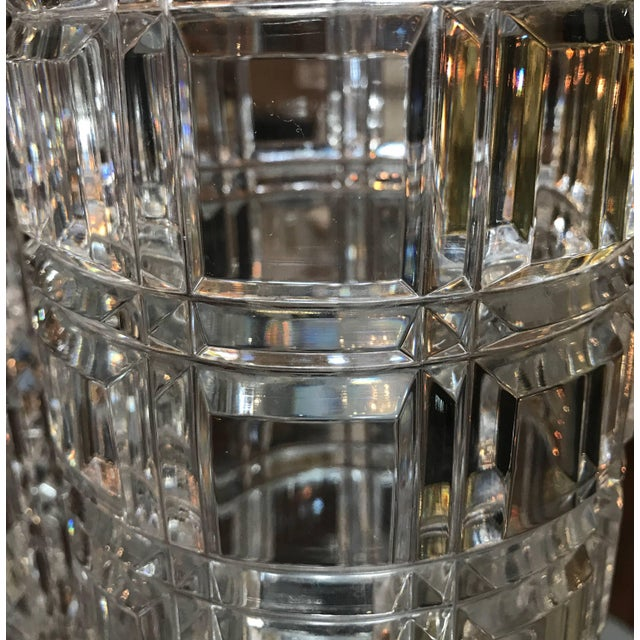 1950s 1950s Mid-Century Modern Cut Crystal Cylinder Vases - a Pair For Sale - Image 5 of 11