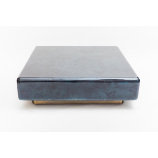 Modern Lacquered Goatskin Pedestal Base Low Table, Usa For Sale - Image 3 of 9