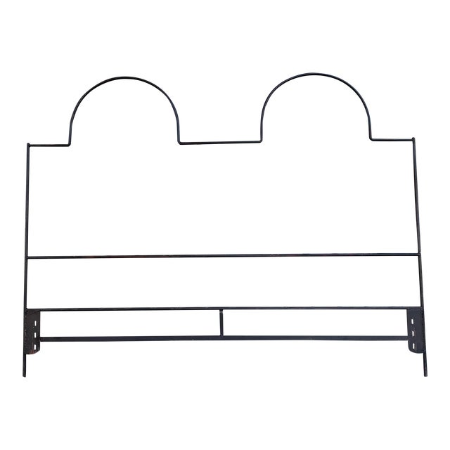 Vintage Hollywood Regency Wrought Iron and Wood Accent Headboard For Sale