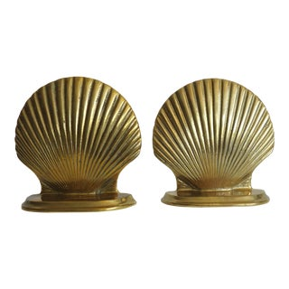 20th Century Nautical Brass Seashell Bookends - a Pair