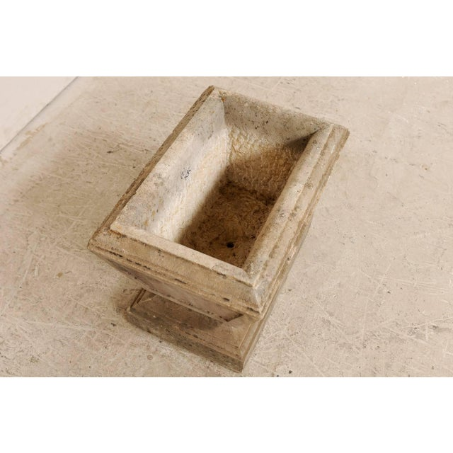 Neoclassical European Hand-Carved Rectangular Tapered Stone Planter For Sale - Image 3 of 8