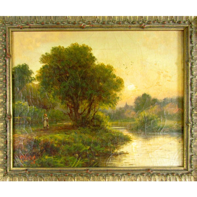 Country 1910 R. Fenson H. Maidment English Landscape Oil Painting Country Girl Stream For Sale - Image 3 of 11