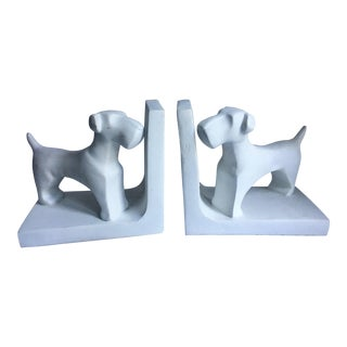 White Dog Bookends - a Pair For Sale