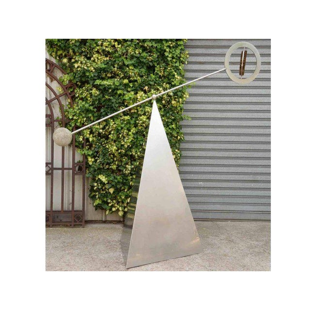 Op Art Marc Cavell, Stabile in Metal and Granite, Unique Piece, Circa 1970 For Sale - Image 3 of 10