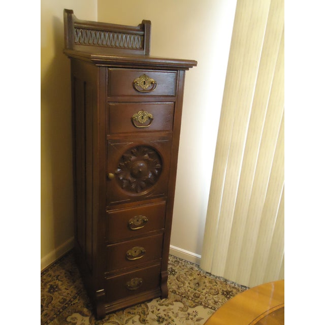 1870- 1893 Antique Nelson Matter & Co. Mahogany Carved Wood File Storage Cabinet For Sale - Image 11 of 11