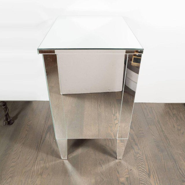 Contemporary Directoire Style Custom Mirrored Nightstands with Three Drawers - a Pair For Sale - Image 4 of 10
