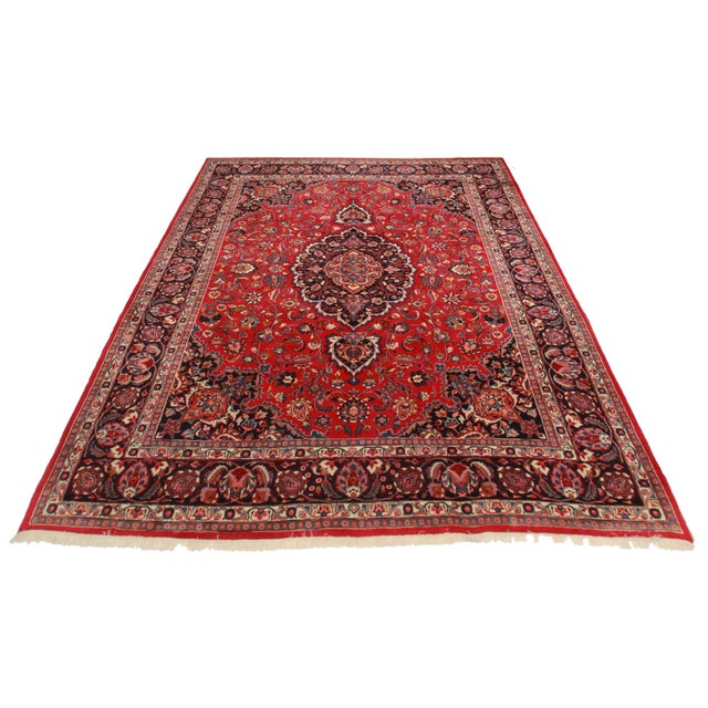 Rugsindallas Vintage Persian Design Wool Area Rug: RugsinDallas Hand Knotted Wool Persian Mashad Rug