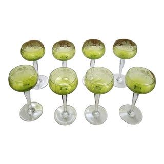 Eight Grape Etched Wine Glasses For Sale