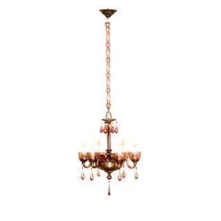 Six Light Murano Amethyst Venetian Chandelier