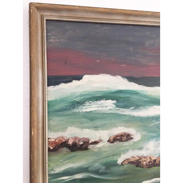 1960s Large Vintage Ocean Landscape Oil Painting For Sale - Image 5 of 6