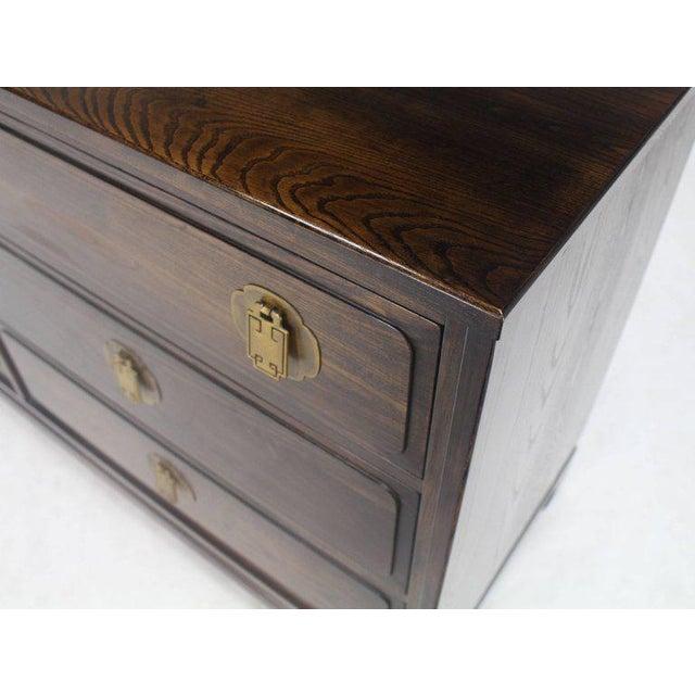 Campaign 20th Century Campaign Ebonized Cerused Oak Brass Pulls Double Dresser For Sale - Image 3 of 8