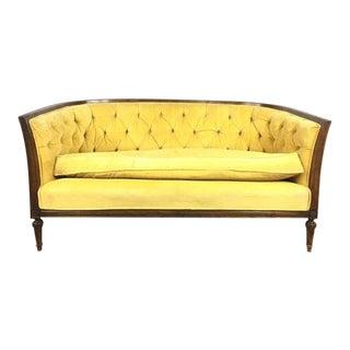 Vintage Yellow Upholstered Tuxedo Sofa
