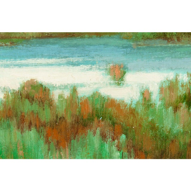 """Large """"Green Meadow"""" Giltwood Framed Oil / Canvas Painting For Sale - Image 4 of 7"""