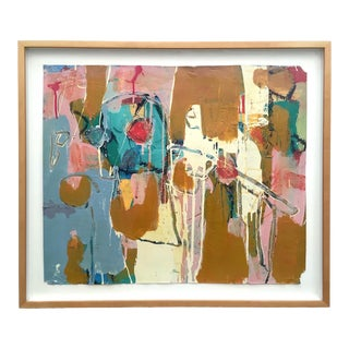 Nuala Clarke Rare Vintage 1990's Abstract Expressionist Framed Original Mixed Media Fine Art Painting For Sale