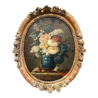 19th Century French Oval Oil on Board Floral Painting in Carved Gilt Frame For Sale