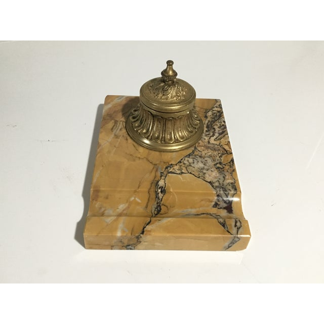 Bronze Antique French Gilded Bronze & Marble Inkwell For Sale - Image 8 of 13