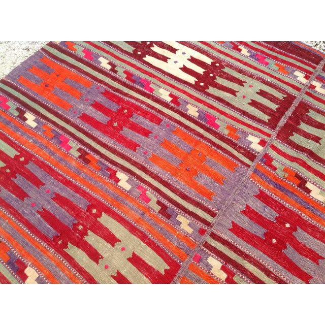 Vintage Turkish Kilim Rug - 5′1″ × 8′8″ For Sale - Image 5 of 7